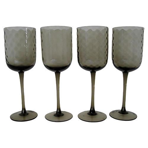 Smoke Optic Glass Stemware, Set of 4