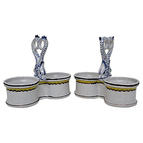 Double Bowls w/ Koi Fish Handles, Pair