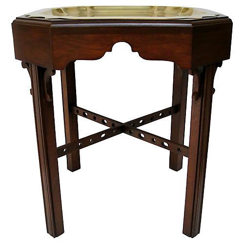 Wood & Brass Tea Table