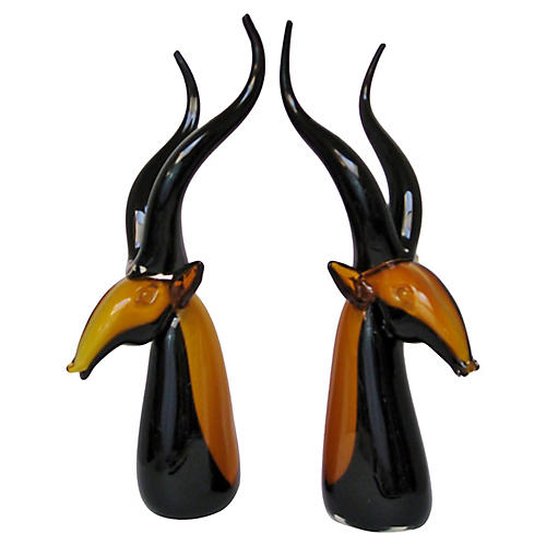 Murano-Style Glass Antelopes, S/2