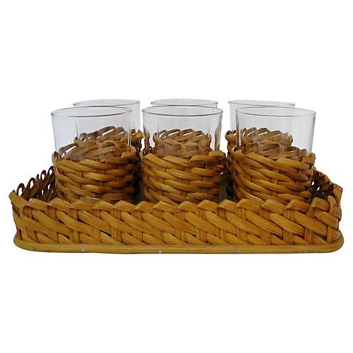 Tea Glasses in Wicker w/ Tray, 7 Pcs