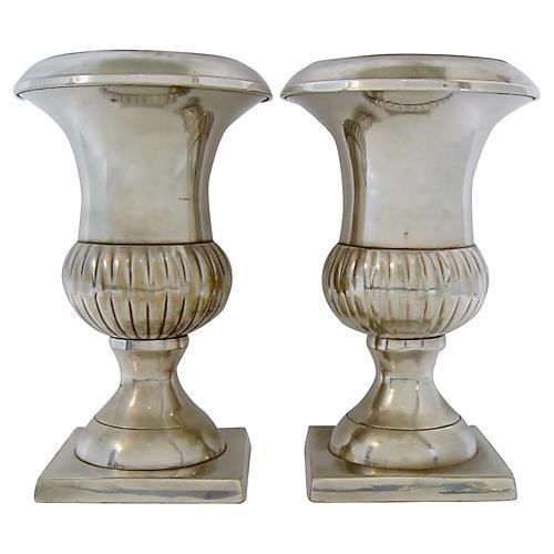 Silver-Plate Vases, Pair