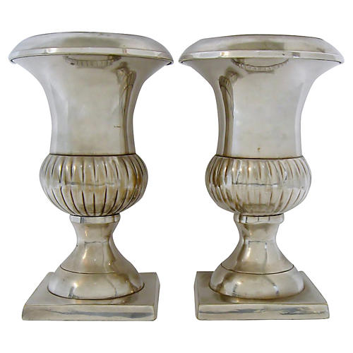 Silver-Plate Vases, Pair