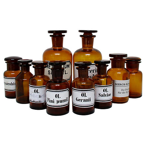 Amber Apothecary Bottles, Set of 10