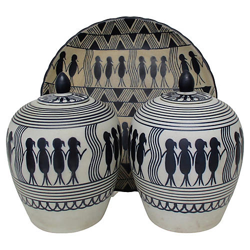 Ceramic Tribal Pattern Vessels, Set of 3