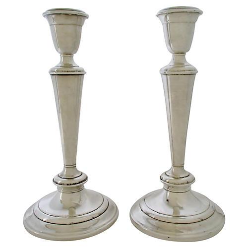 Gorham Silver-Plate Candlesticks, S/2