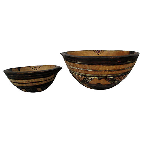 African Pyrography Bowls, S/2