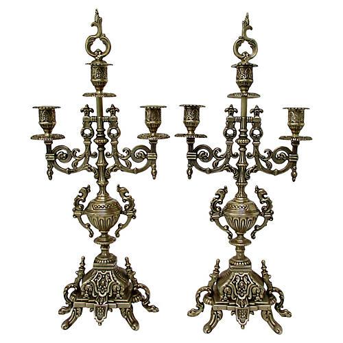 Asian-Style Brass Candelabra, S/2
