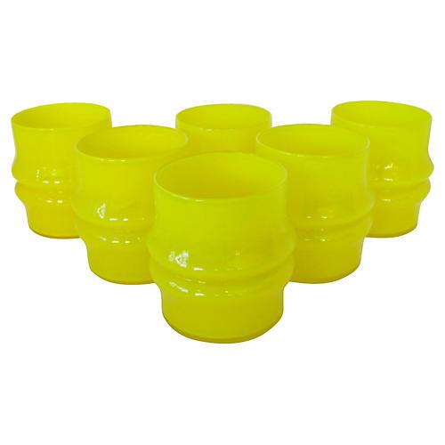 Scandinavian Neon Yellow Glasses, S/6