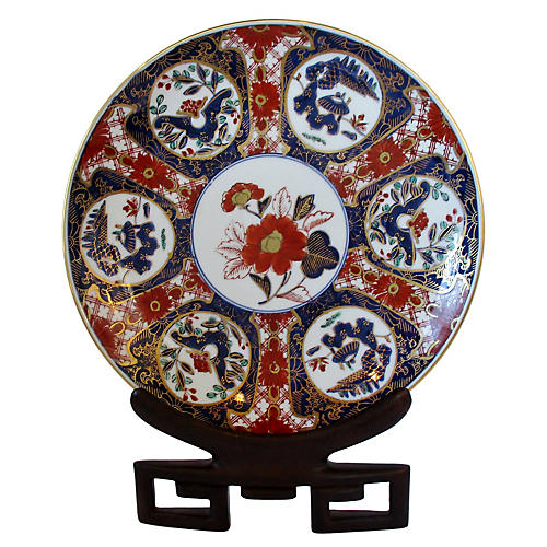 Porcelain Imari Plate on Wood Stand
