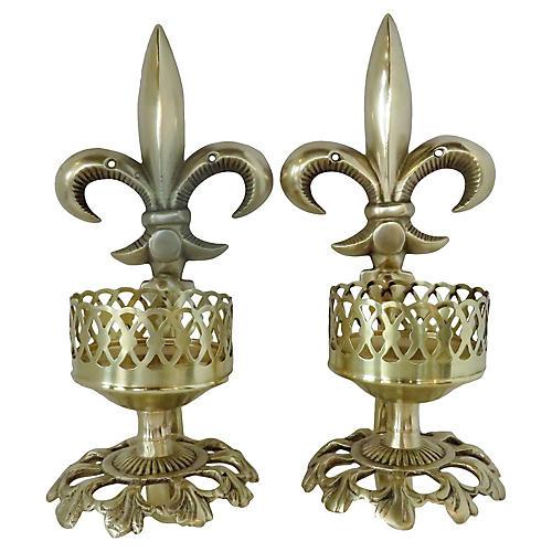 Fleur-de-Lis Candle Sconces, Pair