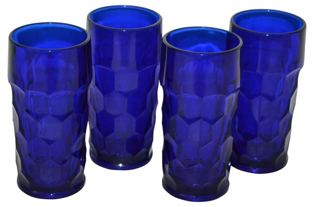 Cobalt Glass Tumblers, Set of 4