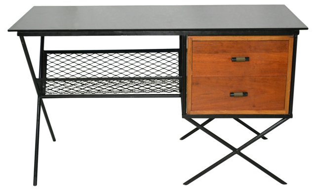 Midcentury  Black Glass-Top  Desk