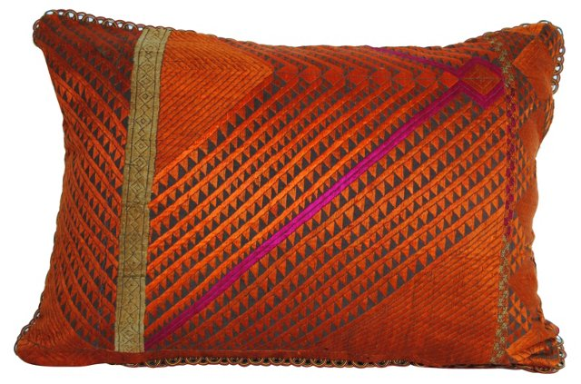 Orange Phulkari       Bagh Pillow