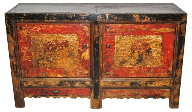 Antique Chinese Red & Black Cabinet