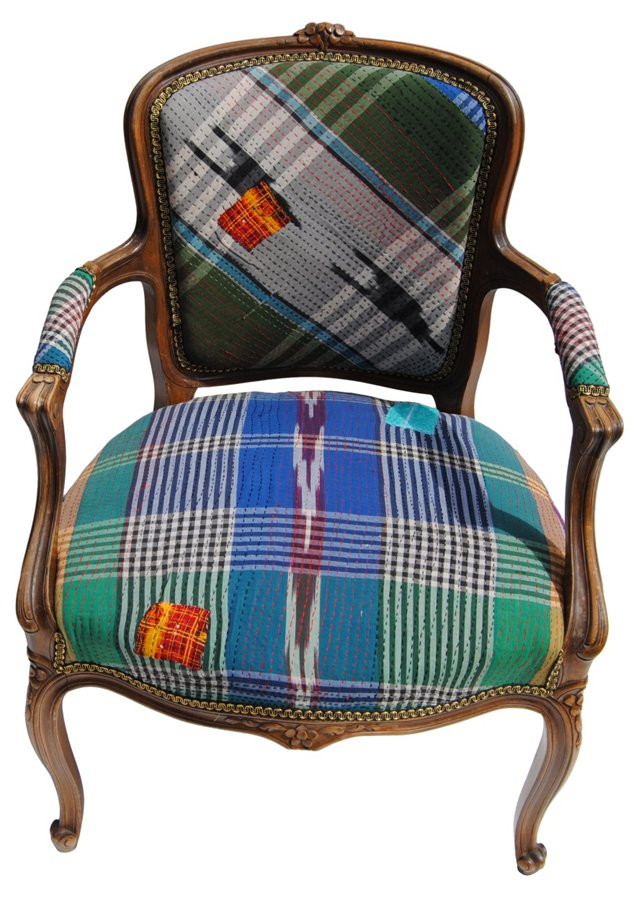 French Chair w/ Plaid Kantha Upholstery
