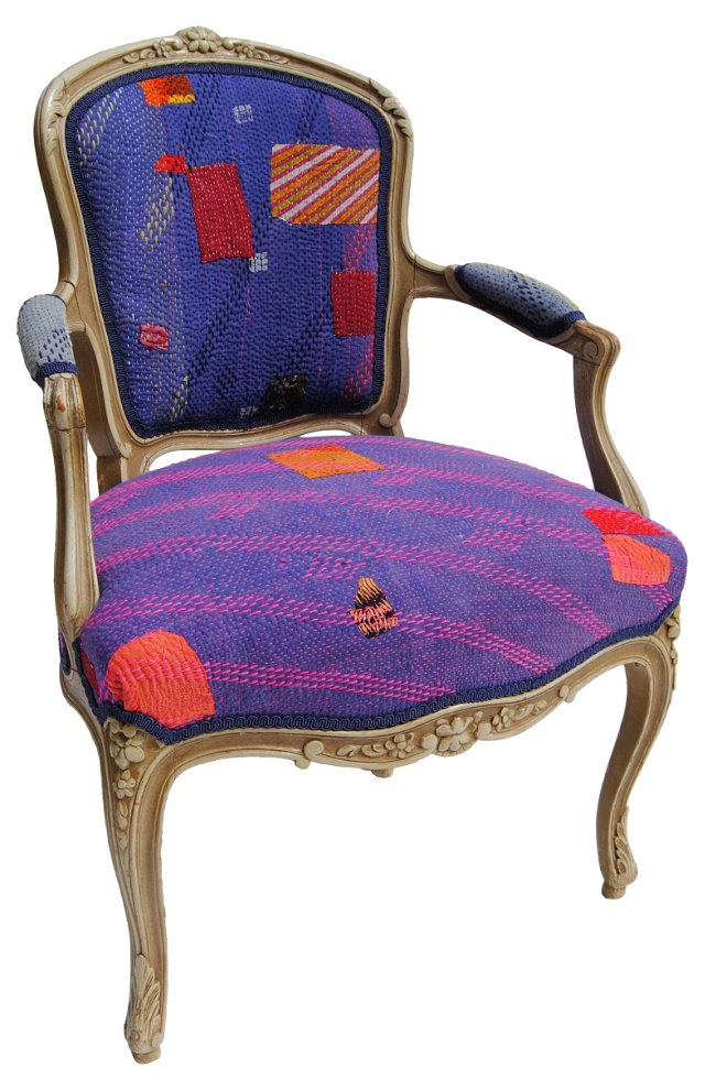 French Chair w/ Purple Kantha