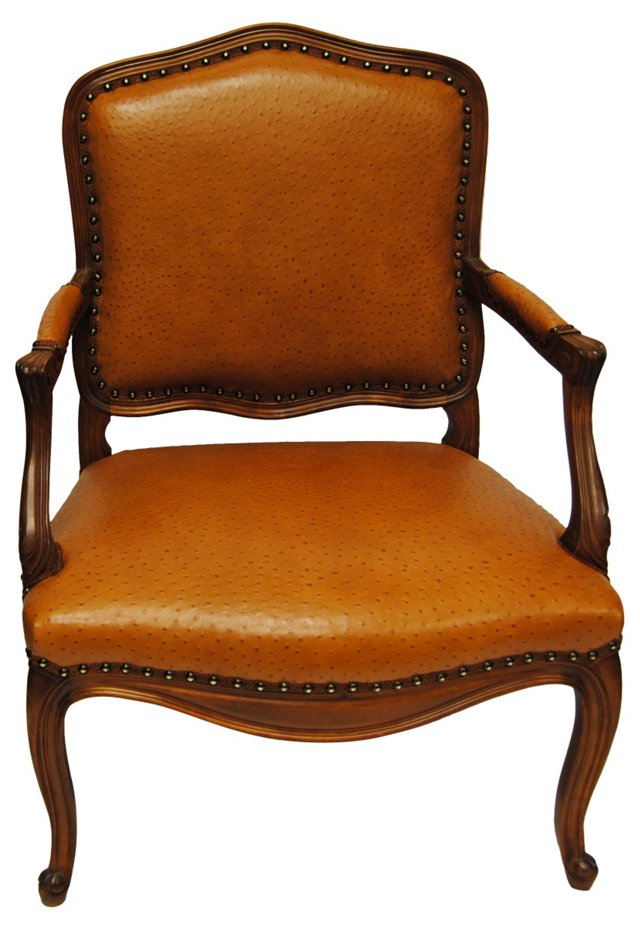 French Chair w/ Ostrich-Style Leather