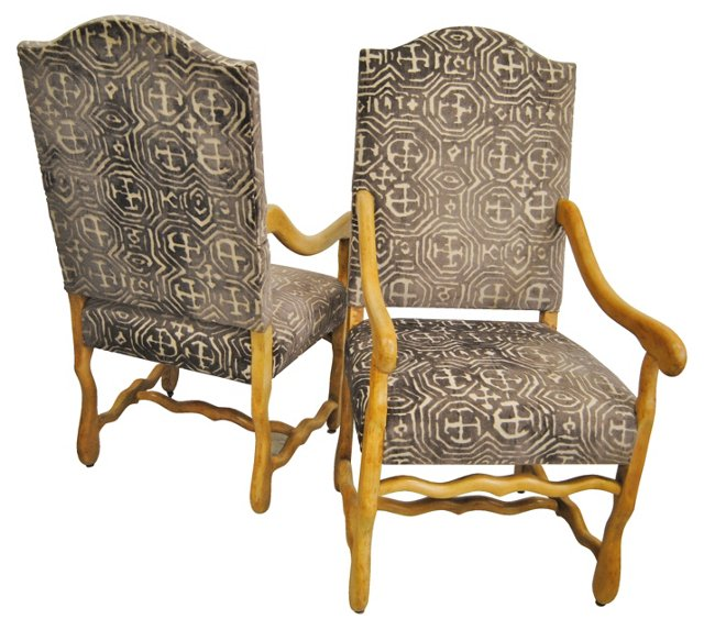 French Upholstered Chairs, Pair