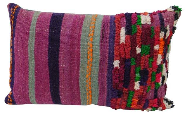 Purple  Moroccan Pillow w/ Tufts