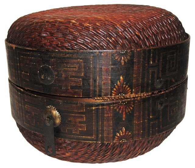 Antique Chinese Wicker Hat Box