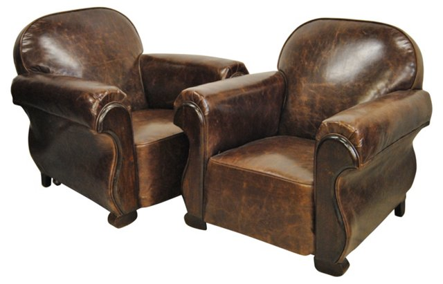 French Deco Leather Chairs, Pair
