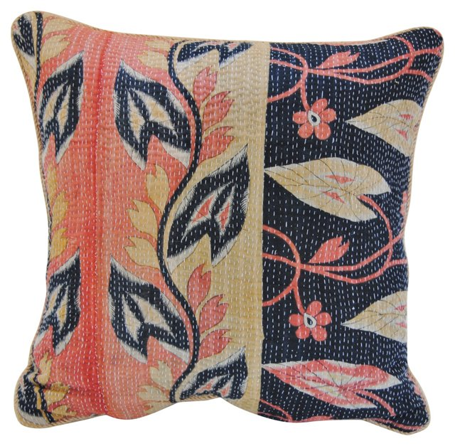 Kantha Pillow w/ Leaves