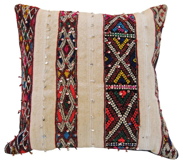 Moroccan Wedding Shawl Pillow w/ Sequins