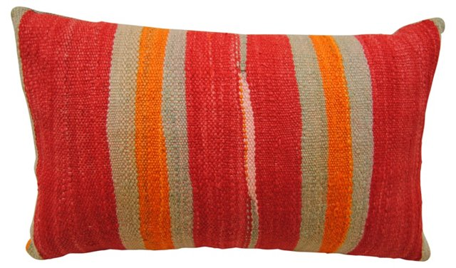 Red & Gold   Wool Moroccan Pillow