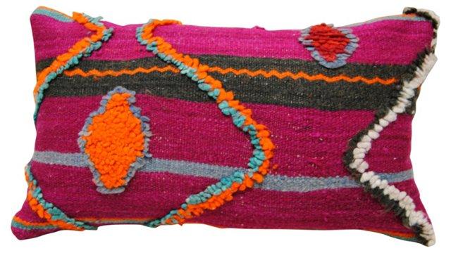 Purple & Orange Moroccan Wool Pillow
