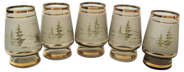 Forest Motif Shot Glasses, Set of 5
