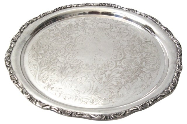 Shell-Motif Silverplate Tray