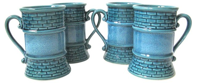 Teal Mugs, Set of 4