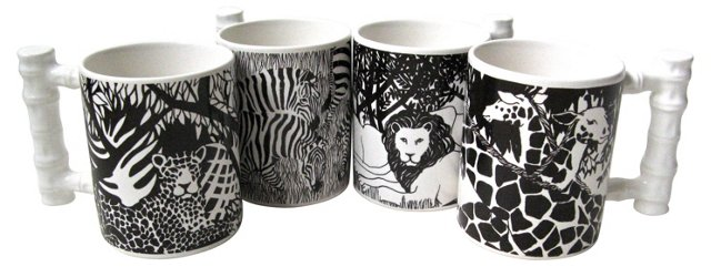 1970s Safari Mugs, Set of 4