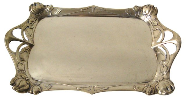 French Art Nouveau Brass Tray