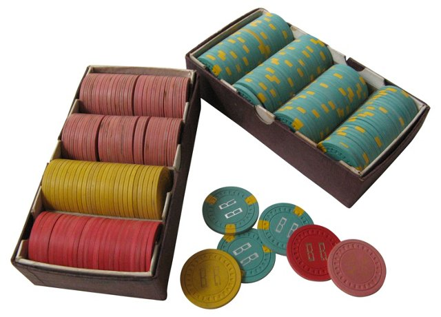 Clay Poker Chips, 2 Boxes