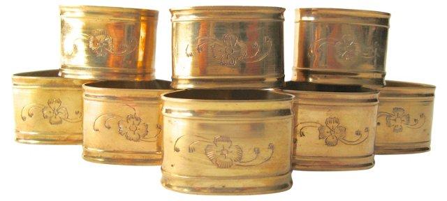 Engraved Brass Napkin Rings, Set of 8