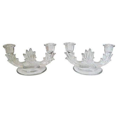 Art Deco Glass Candleholders, Pair