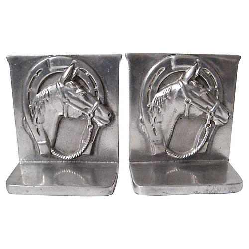 Equestrian Pewter Bookends, Pair