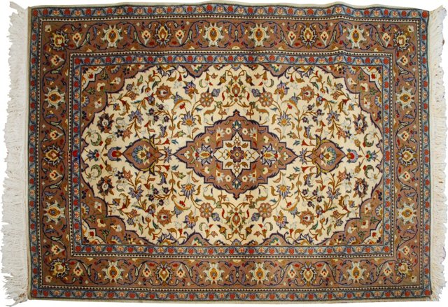 "Kashan Carpet, 3'6"" x 5'4"""
