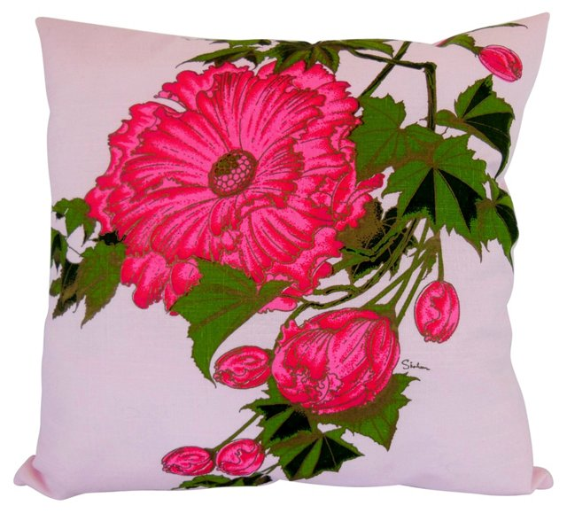 Alfred Shaheen Pink Peony Pillow