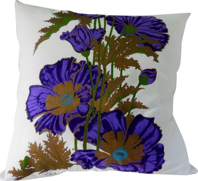 Alfred Shaheen Purple Poppy Pillow