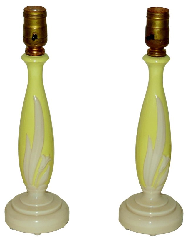 Yellow Lily Lamps, Pair