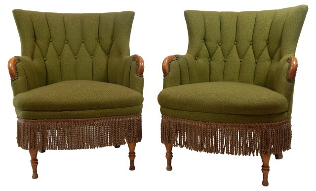 Green Boudoir Chairs, Pair