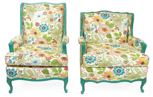 His  & Hers Floral-Motif Chairs,  Pair