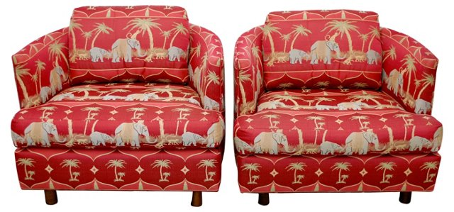 Elephant-Print  Barrel Chairs, Pair