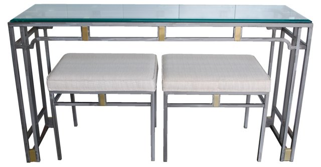 Metal Console & 2  Benches