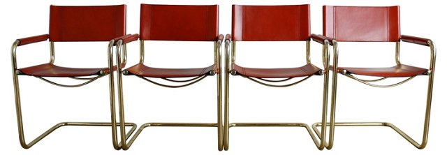 Midcentury Cantilevered Chairs, S/4