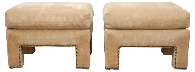 Upholstered  Benches, Pair