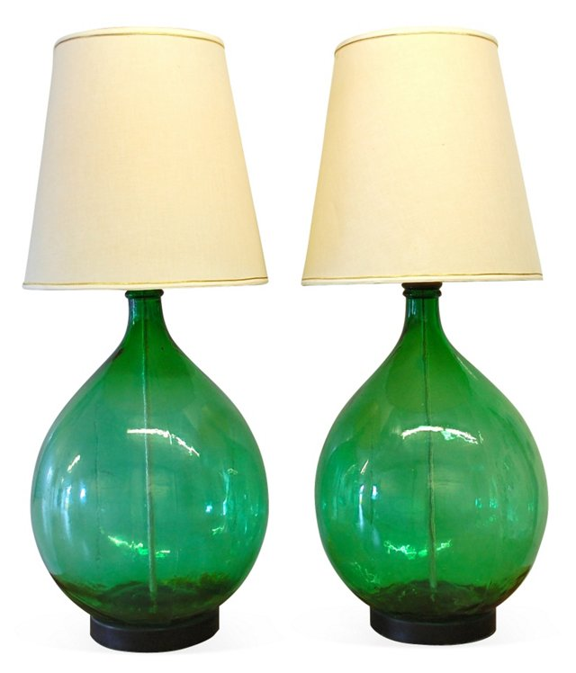 Large Glass Lamps, Pair